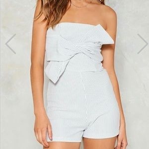 NWT Nasty Gal striped strapless romper